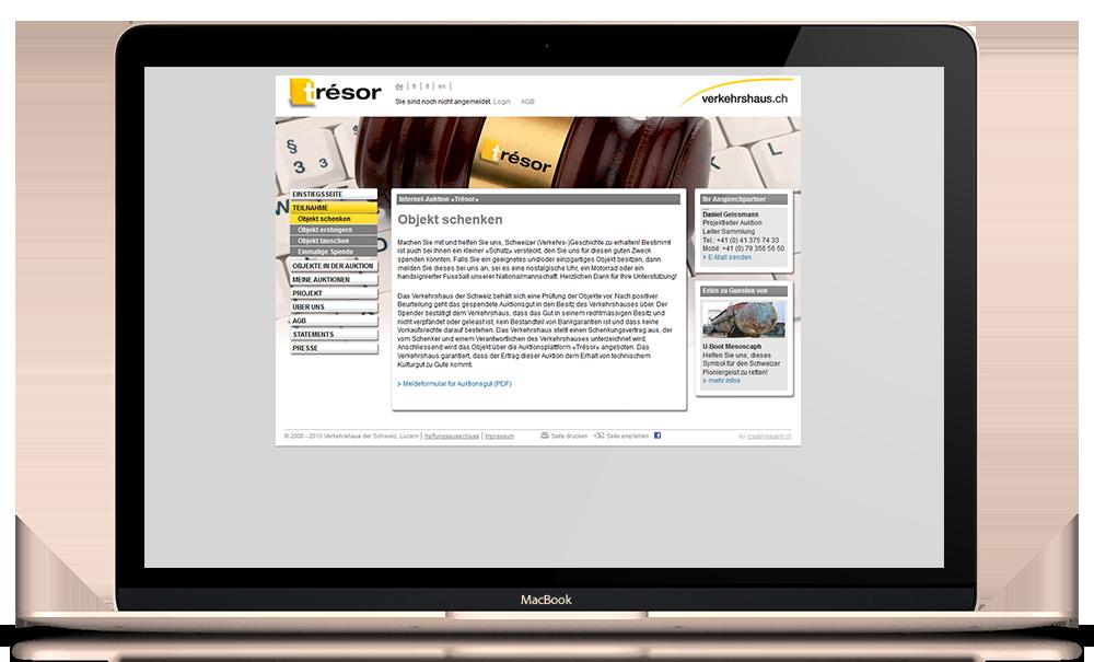 Online Auktionsplattform Verkehrshaus Schweiz