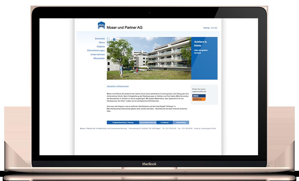 Internetauftritt für Moser und Partner AG