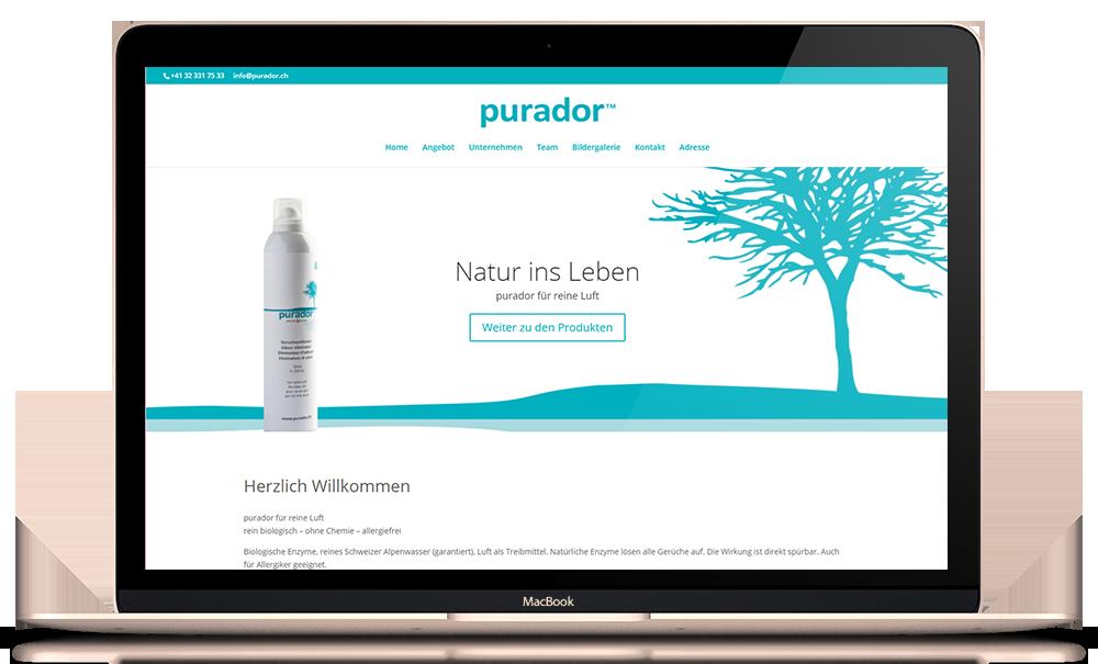 Responsives Onepage Webdesign für purador.ch