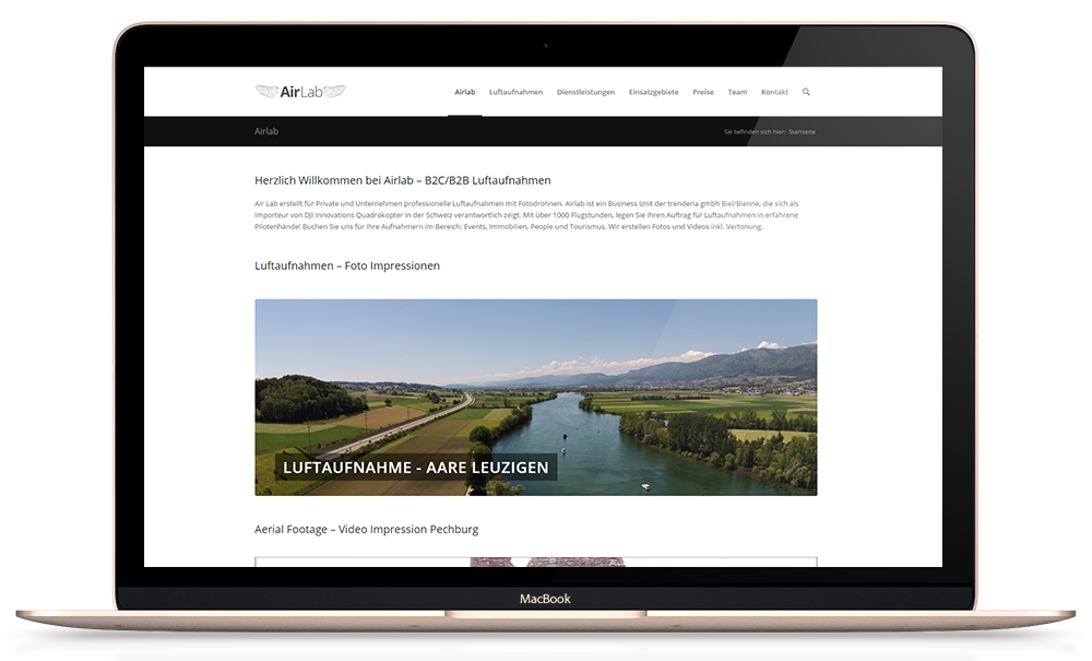 Responsive Webseite airlab.ch