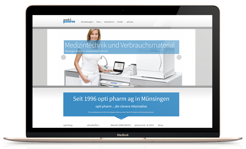 Weblication Enterprise Website für optipharm.ch